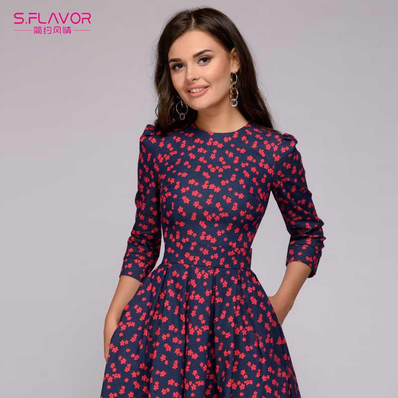 S. аромат весны Для женщин Цветочный принт платья с рукавом три четверти элегантный Высокая Талия платье трапециевидной формы с круглым вырезом Винтаж вечерние платья