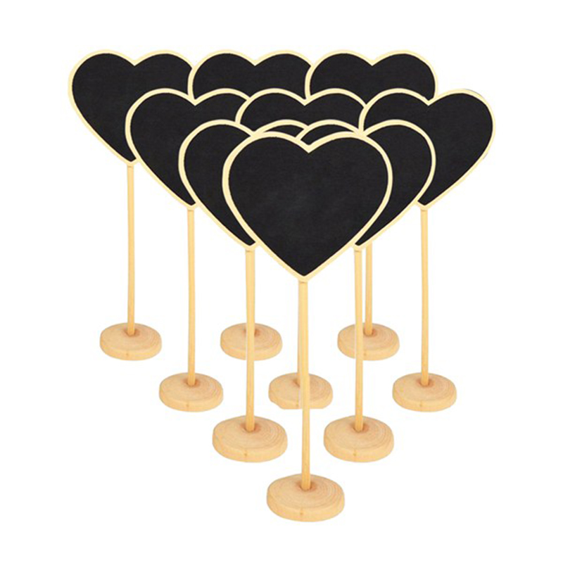 9pcs / Set I132383 Stand Heart Shape Blackboard 7.5Wx18H(cm)