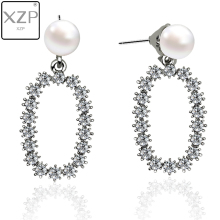 XZP Trendy Crystal Paved Oval Pendant Drop Earrings For Women Fashion Pearl Charm Statement Jewelry Wedding Female 2019