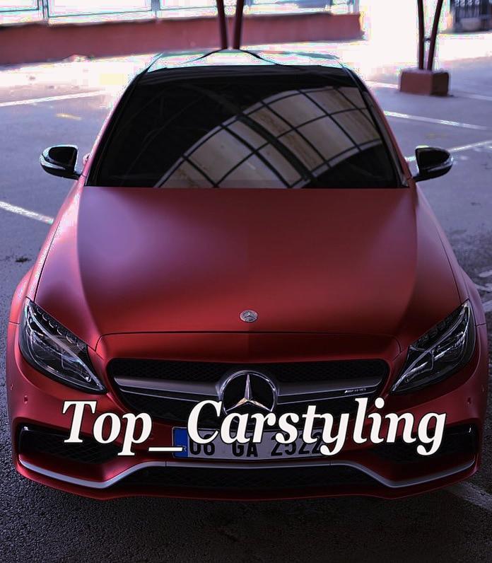 Autocollants en vinyle chromé mat métallisé rouge glace feuille pour revêtement de voiture avec protection sans bulles d'air 1.52x20 m/5x67ft