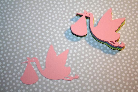 Stork Scrapbooking Baby Shower Place Card Favor Hanging Crafts
