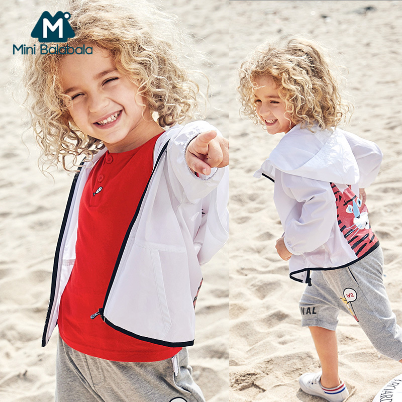 Mini Balabala Boys Quicky-Dry Outdoor Hooded Jacket Children Kids Boy Breathable Full-Zip Jacket with Hood for Summer