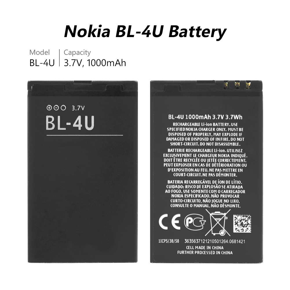 2019 Lithium 100 Brand New Rechargeable Lithium BL 4U BL 4U BL4U Battery For Nokia C5 03 C5 06 5250 530 3120C 6216C 6600S in Mobile Phone Batteries from Cellphones Telecommunications