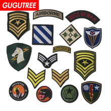 GUGUTREE embroidery rank star letter airborne patches army military badges applique for clothing ST-3