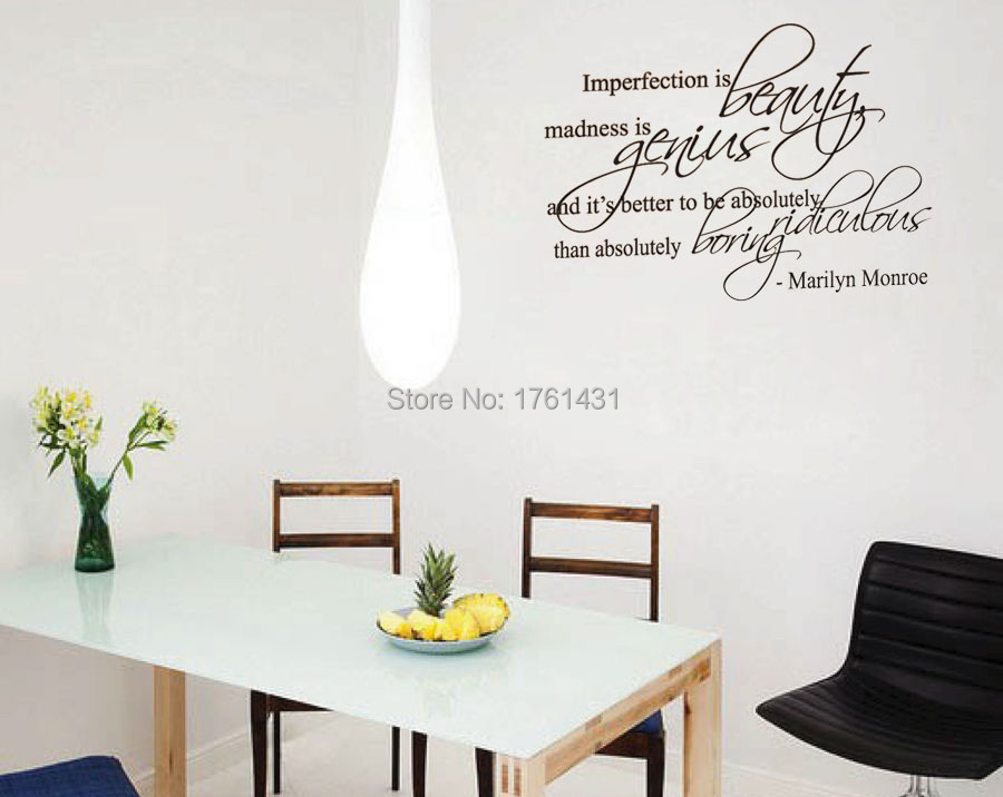 Good Marilyn Monroe Living Room Part   44: Wall Decal Sticker Quote Vinyl Art  Imperfection Is