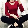 2017 Mujeres de La Moda de Primavera Otoño Invierno Hizo Punto La Camisa Básica Femenina de Manga Larga Con Cuello En V Suéter Y Suéter de Las Tapas de Tracción Femme