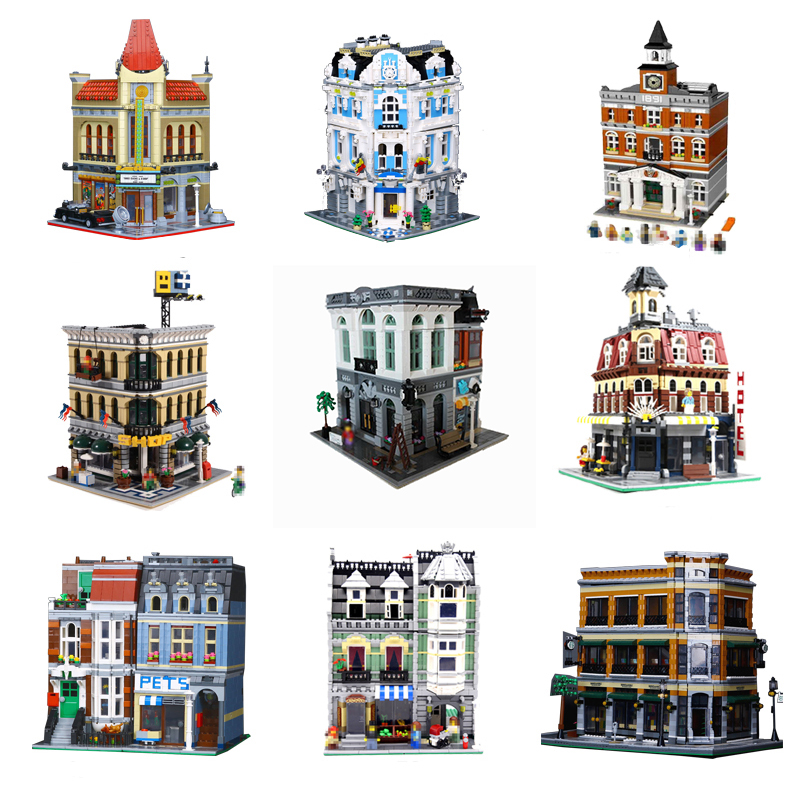 Building Blocks City Street Series15001 15002 15003 15005 15006 15008 15009 15017 15018 Compatible 10251 LEPIN Bricks Gifts Toys a toy a dream lepin 15008 2462pcs city street creator green grocer model building kits blocks bricks compatible 10185