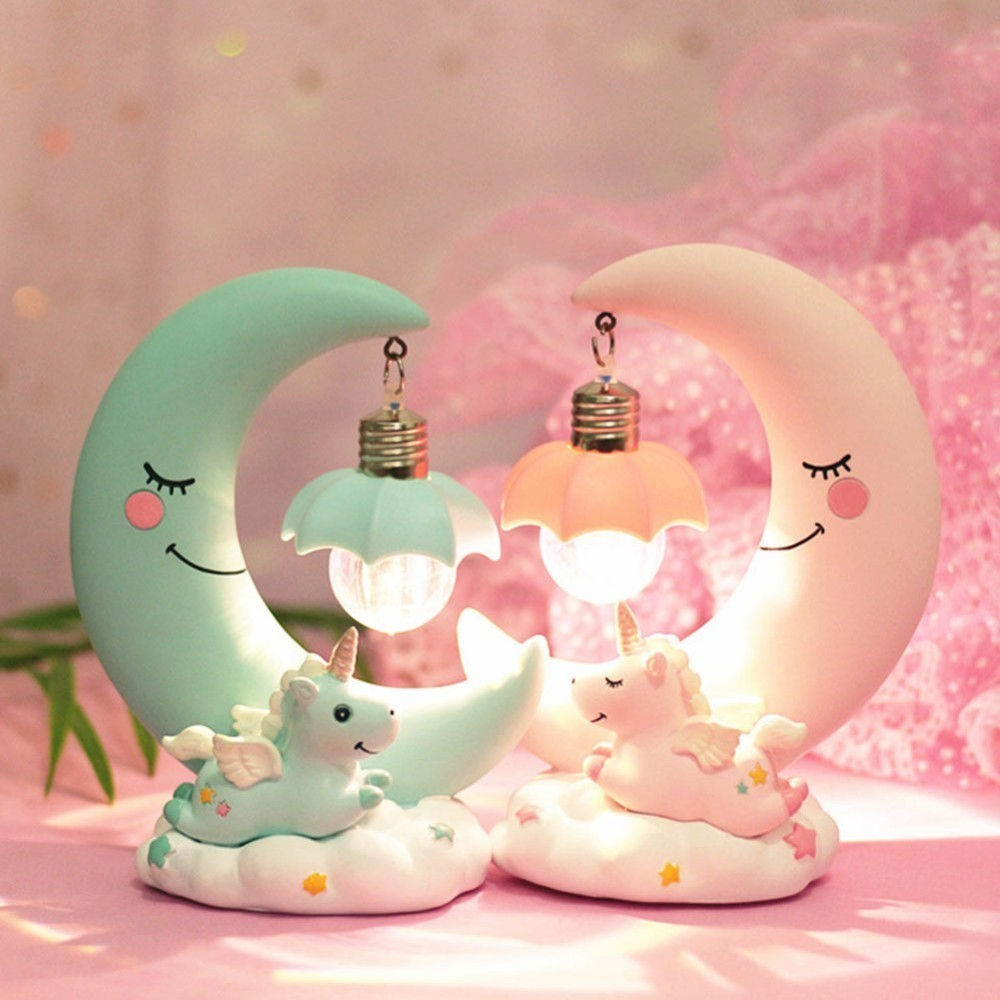 LED Night Light Unicorn Moon Resin Cartoon Unicornio Lamp Luminaria Romantic Lampara Bedroom Decor Baby Kids Birthday Xmas Gift