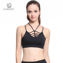 Ovesport Summer Strappy Workout Tops Shirts Women Fitness Sports Tops Tights Shockproof Yoga Bras Padded Quick Dry Sports Bras