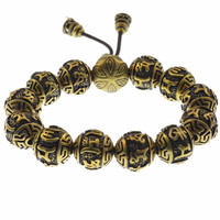 Tibetan Buddhism Brass Silver Plated Charm Rope Bracelet For Men Six Words Mantras Mala Yoga Lotus