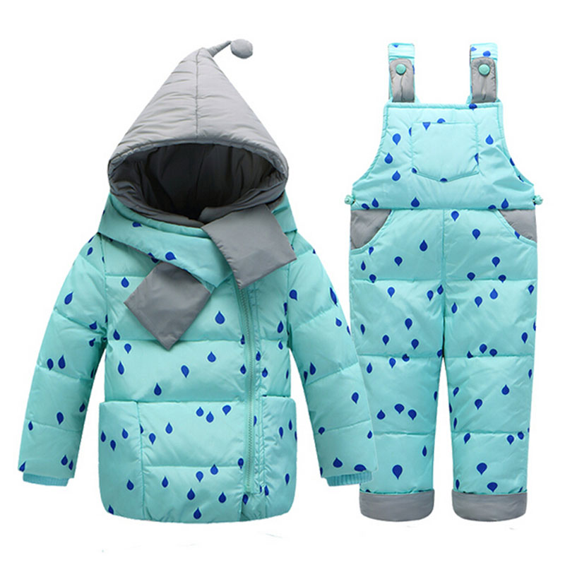 2017 Winter Children's Clothing Set Kids Ski Suit Overalls Baby Girls Down Coat Warm Snowsuits Jackets+bib Pants 2pcs/set 0-3t russia winter children winter down sets kids ski suit overalls baby girls boys down coat warm snowsuits jackets bib pants set
