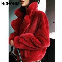 HDHOHR 2019 Neue 100% Real Nerz Mantel Frauen Mode Wesentlichen Natürlichen Nerz Pelzmantel Kurzen Weihnachten Rot Oberbekleidung Jacke
