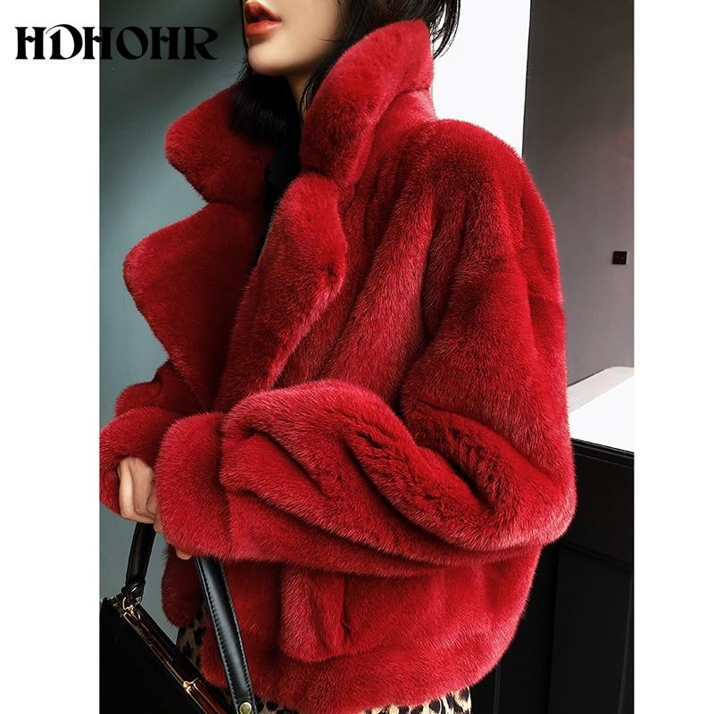 HDHOHR 2019 nuevo 100% abrigo de piel de visón Real de moda para mujer abrigo de piel de visón Natural esencial Chaqueta corta de abrigo rojo de Navidad