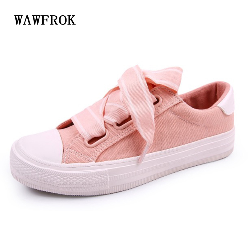 WAWFROK Canvas Women Casual Shoes Summer 2018 Spring Women Shoes Fashion Breathable Vulcanization Riband Lace-Up Women SneakersWAWFROK Canvas Women Casual Shoes Summer 2018 Spring Women Shoes Fashion Breathable Vulcanization Riband Lace-Up Women Sneakers