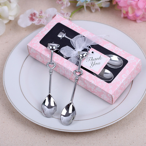 2PCs/Box Small Wedding Gift Wholesale Novelty Gift Stainless Steel Couple Coffee Spoon Hot Sale Creative and Practical Pakistan