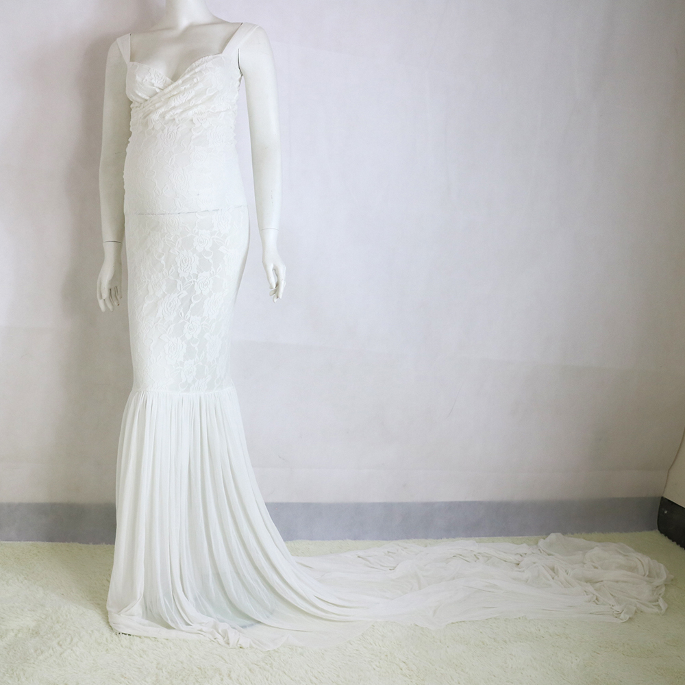 Sample Clearance! Stretch Lace with Shoulder-Strap on top long Train Ivory Maternity Photography Dress Baby Shower two for one цена 2017