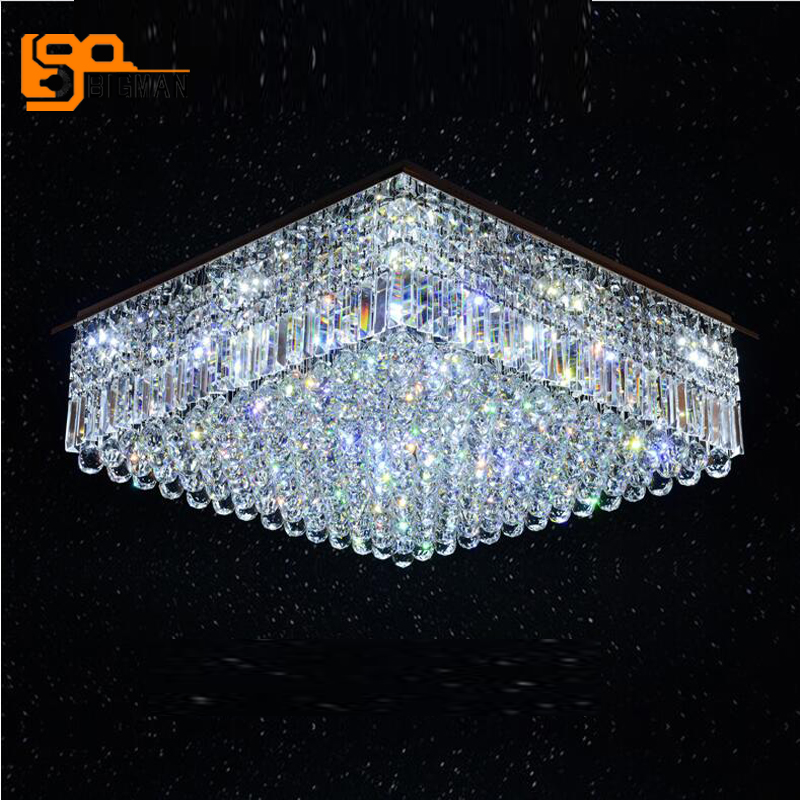 bigman new rectangle crystal chandelier ceiling LED lamp L80*W60*h25cm lustre living room lights