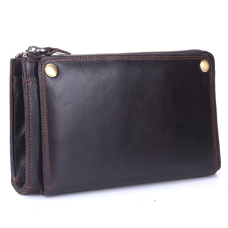 Genuine Leather Male Clutch Wallets Top Cowhide Long Purse For Men Multi-card Holder Man Hand Pack With Phone Pocket PR099078 simline vintage genuine cow leather cowhide mens men long double zipper wallet purse wallets card holder clutch bag bags for man