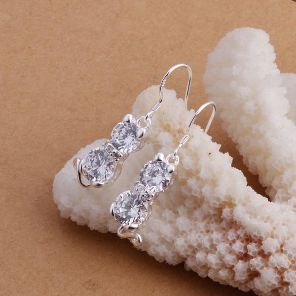 E335 silver earrings for women beauty krean style cat drop earrings crystal
