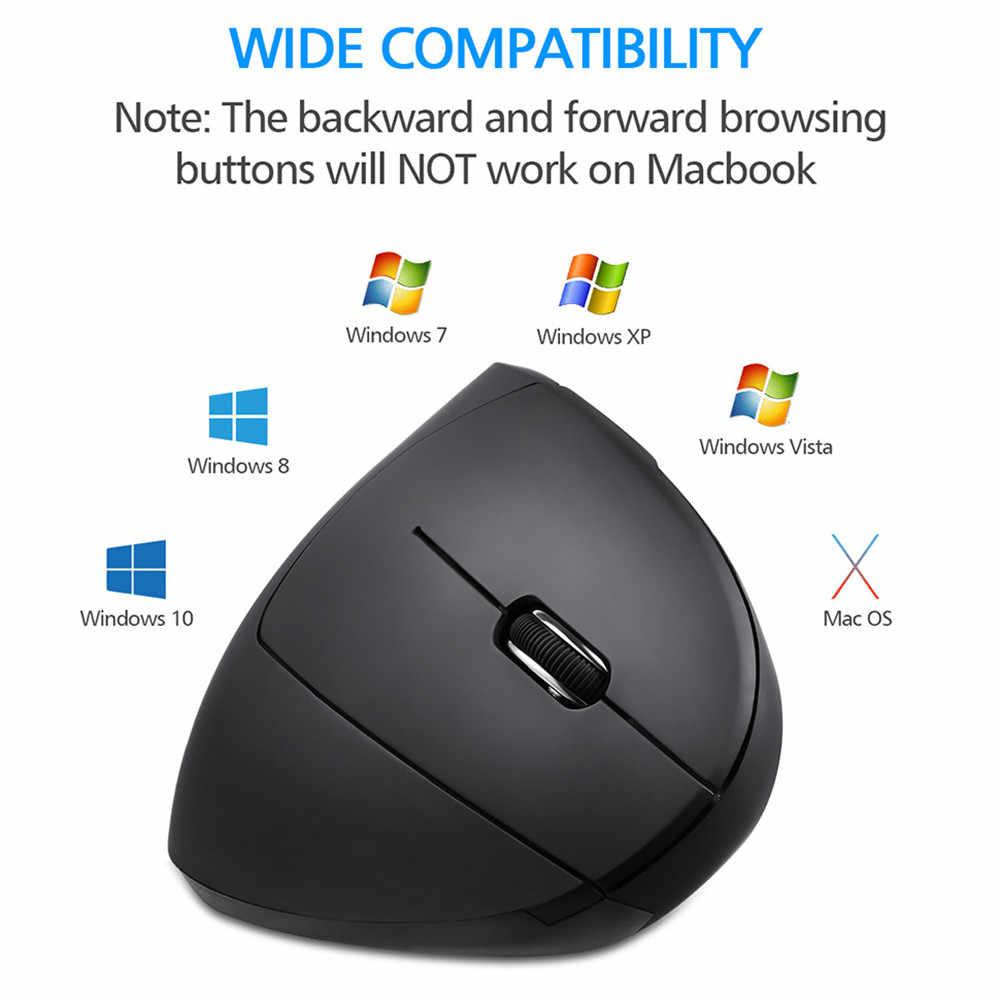 ماوس لاسلكي مريح ماوس عمودي 2.4Ghz ماوس بصري لاسلكي 800 1200 1600 ديسيبل متوحد الخواص USB الكمبيوتر Mause للكمبيوتر المحمول سطح المكتب