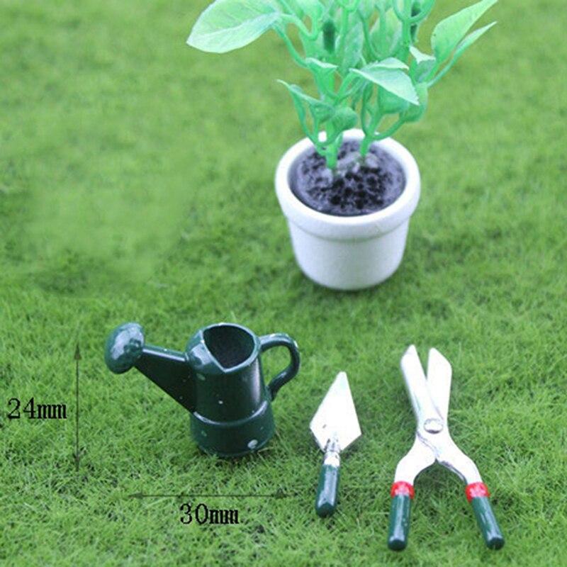 3 Adet Mini Metal Cicek Sulama Kabi Makas Kurek Seti Simulasyon