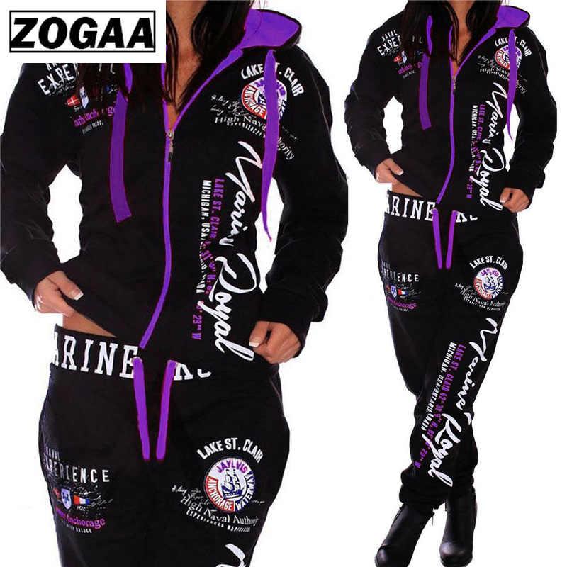 ZOGAA 패션 Tracksuit S-3XL 새로운 여성 캐주얼 스포츠웨어 후드 바지 여성 정장