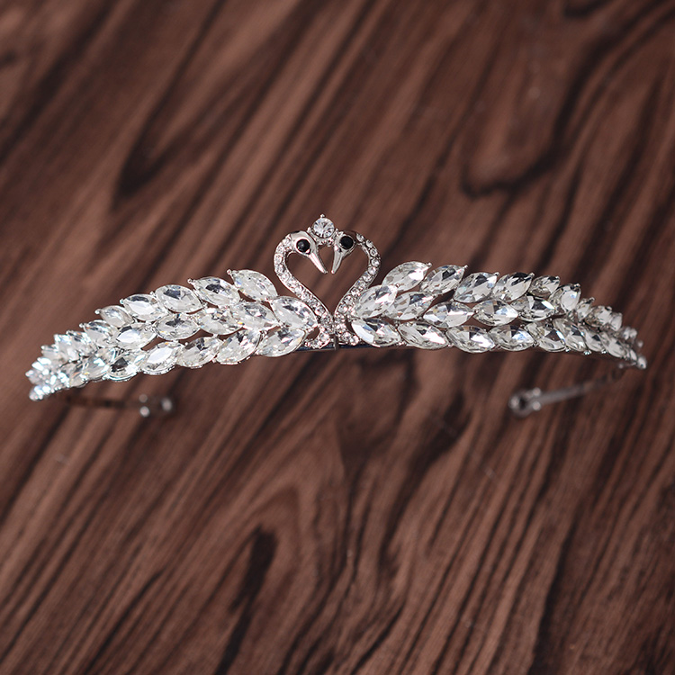 Top quality Love swan design Bridal crowns Wedding party hair tiaras silver marquise crystal bride hair jewelry accessories