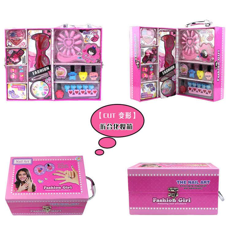 Brinquedos Pretend Play Brinquedos das Crianças Da Forma Da Beleza menina penteadeira maquiagem prego acessórios terno de presente mala