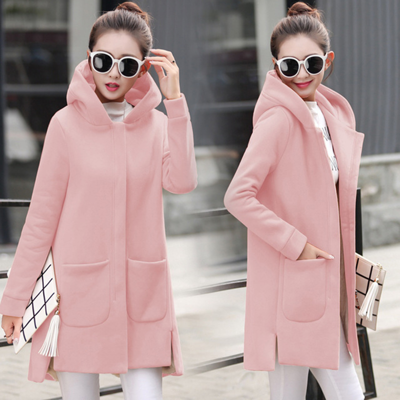 Autumn Winter Women's Fleece Jacket Coats Female Long Hooded Coats Outerwear Warm Thick Female Red Slim Fit Hoodies Jackets 35