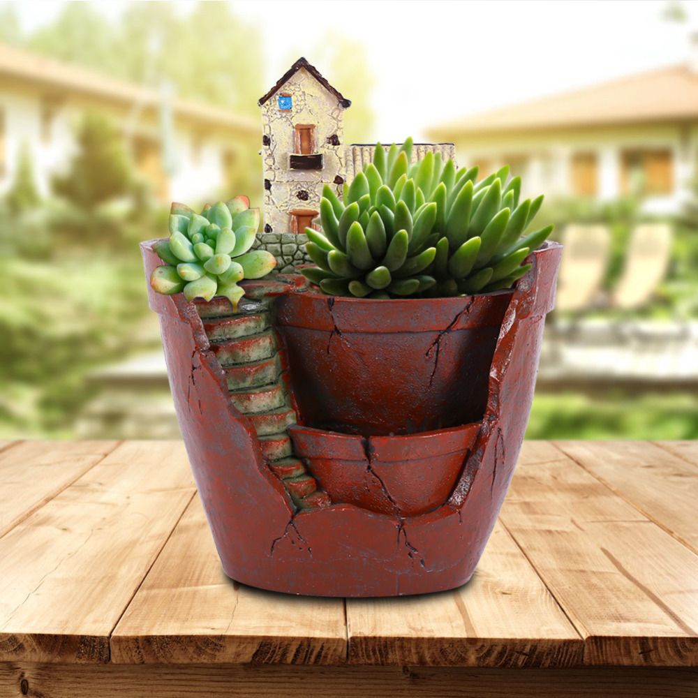 1pc hanging garden shape resin flower pot castle house. Black Bedroom Furniture Sets. Home Design Ideas
