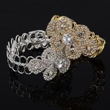 YFJEWE Handmade Silver Gold Color Rhinestone Chain Bracelets &Bangles Crystal Wedding Femme Flower Bride Birthday Gifts B200(China)