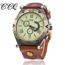 CCQ Marca Vintage de Cuero de Vaca Reloj Pulsera Casual Mujeres Del Reloj de Cuarzo Reloj de Pulsera Relogio Feminino Venta Caliente BW1822
