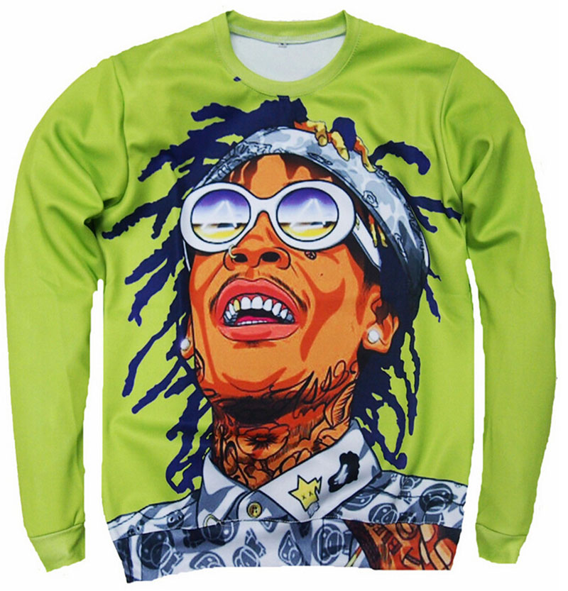 Hip hop Tops Unisex men women 3d hoodies character printed Sweatshirt Wiz Khalifa Crewneck Sweats pullovers Plus size S-3XL