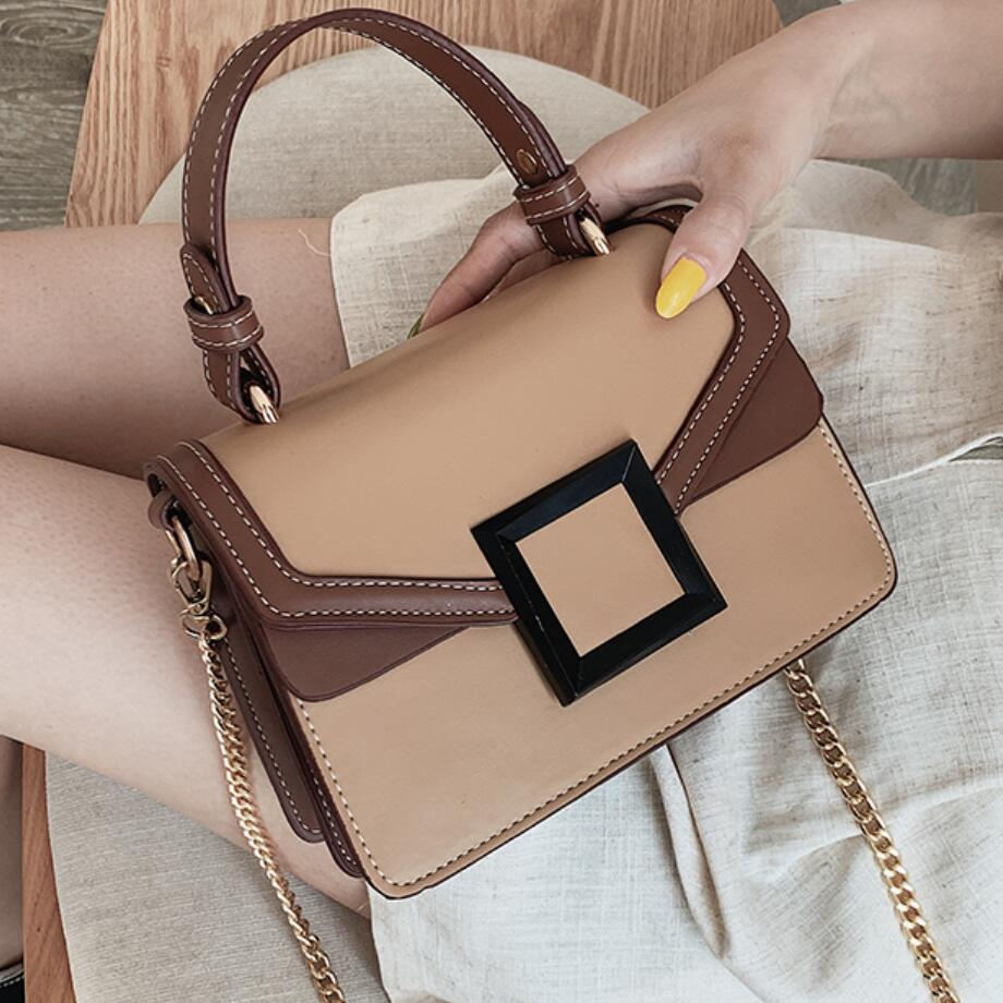Elegant Female Contrast Color Tote Bag 2019 New Quality PU Leather Women's Designer Handbag Lock Chain Shoulder Messenger Bag