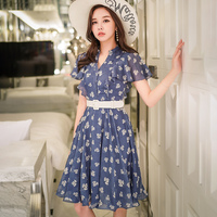 Dabuwawa V Neck Belted Dress 2018 Blue Dress Women Boho Bohemian Holiday Beach Dress Summer Casual Female