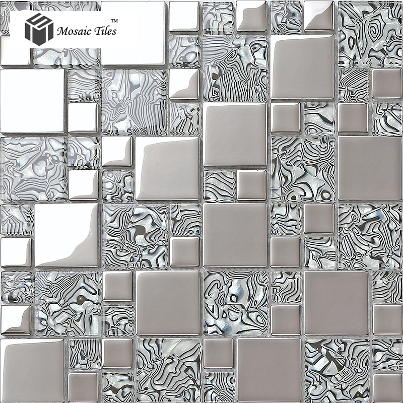 Frosted Glass Mosaic Tile Glass Metal Tile Modern Mosaic ...