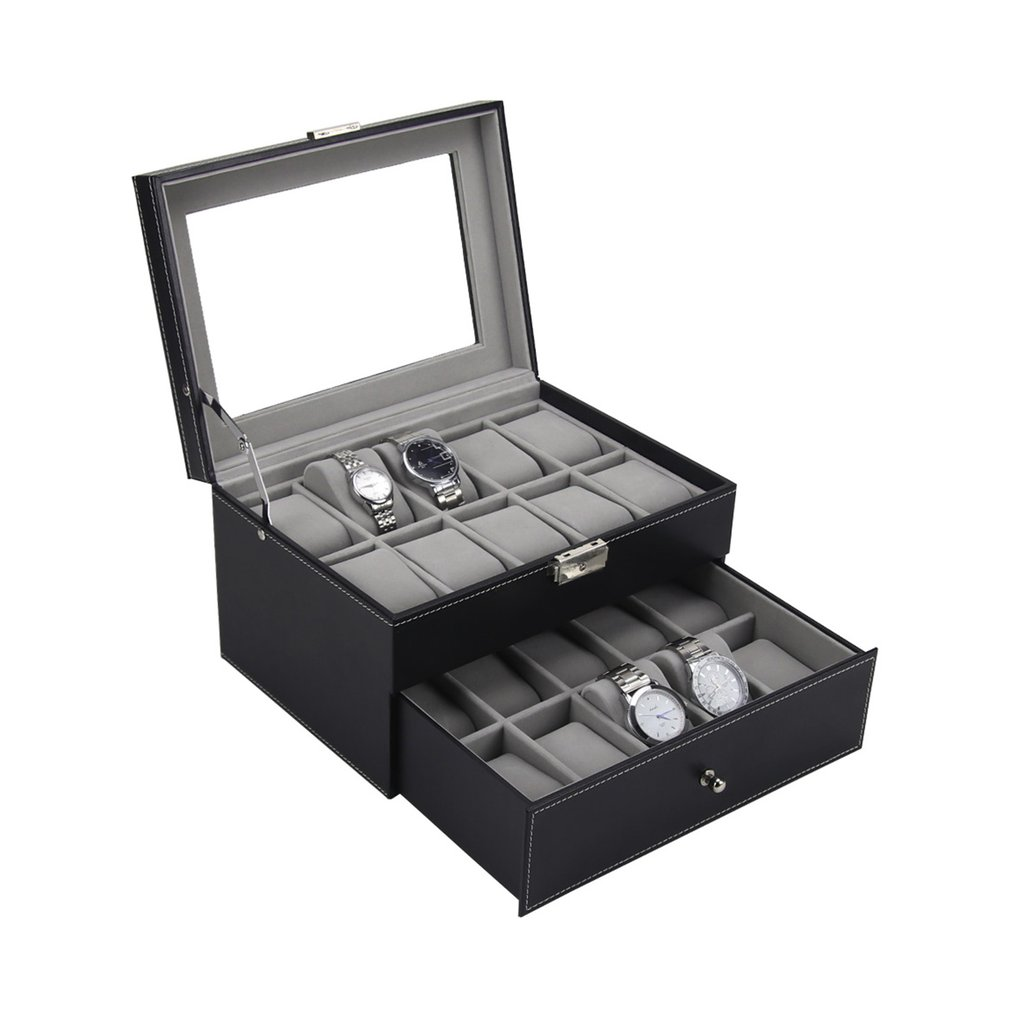 20 grilles fentes PU cuir Double couches montre boîte montres conteneur organisateur boîte bijoux affichage mallette de rangement