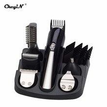 6 ב 1 נטענת שיער גוזם שיער קליפר מכונת גילוח סטי חשמלי מכונת גילוח תער גילוח זקן גוזם שיער מכונת חיתוך