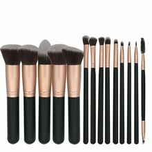 high quantity soft synthetic hair 5pcs big powder brushes wooden 14pcs makeup br