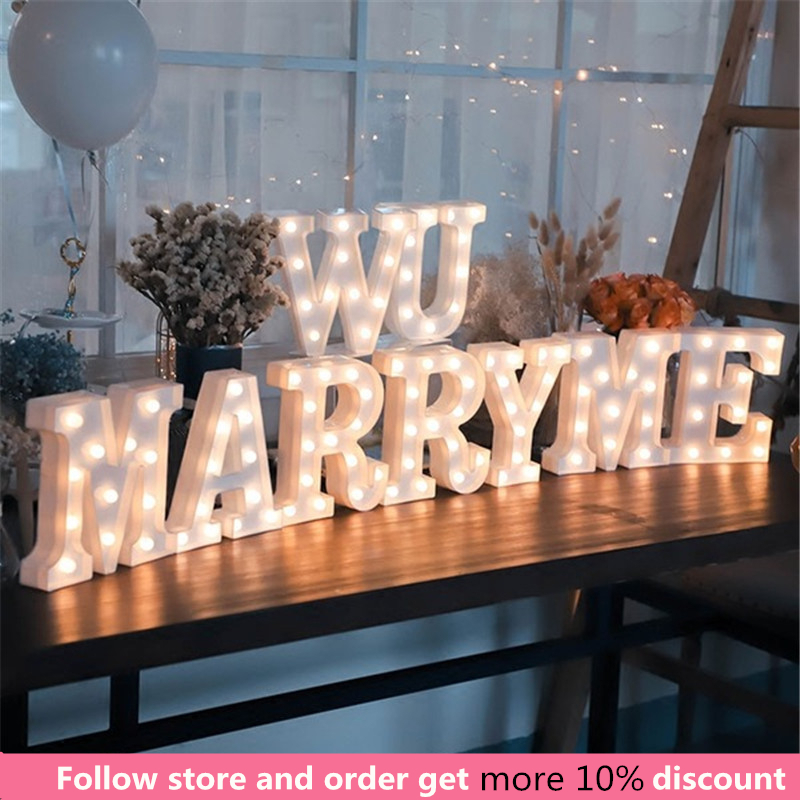 16CM LED Light Letter Marquee Alphabet Indoor Battery Night For Wedding Party Birthday Decor
