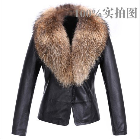 2012 Women Genuine Leather Raccoon Fur clothing lamb sheep leather ...