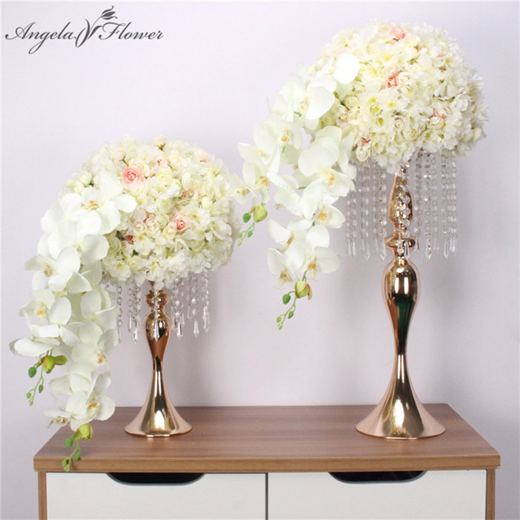 Image 2 - New S shaped crystal acrylic bead curtain rotating road lead wedding props Ferris wheel Mermaid candlestick flower bracket vase-in Artificial & Dried Flowers from Home & Garden