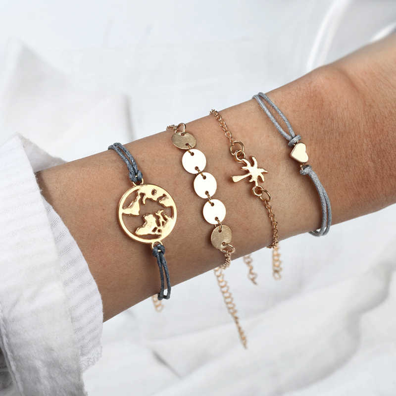 4 Pieces / Set Of Bohemian Bracelet Multi-Layer Metal Adjustable Love Disc Handmade Chain Bracelet Ladies Jewelry Decorations