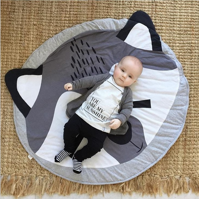 Smail cute animal cotton crawling mat Fox game pad round carpet Lovely rabbit Soft Baby Crawling