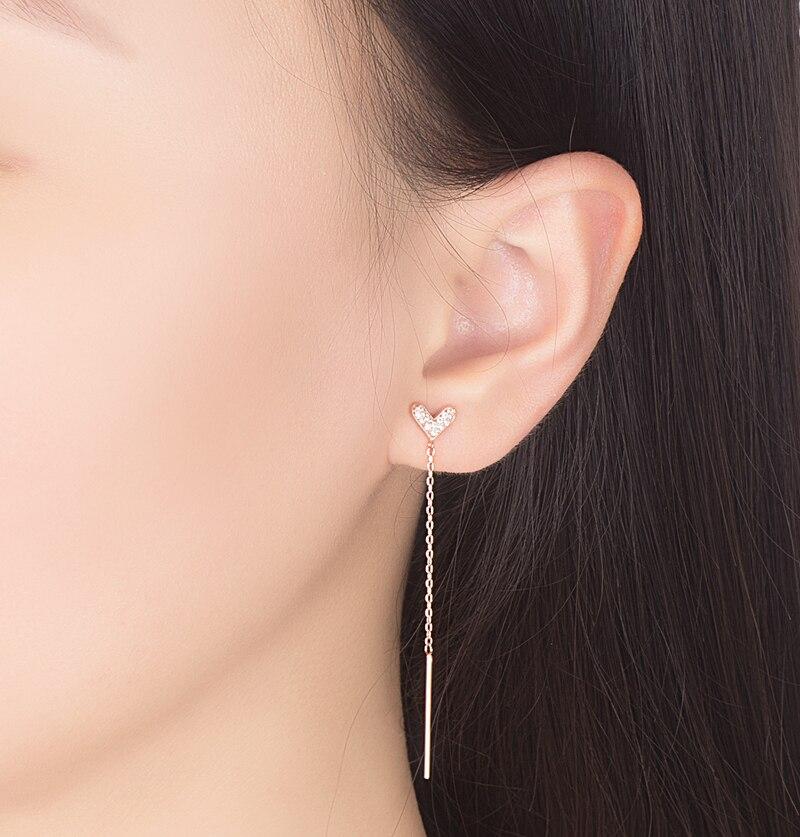 Cute heart shaped ear line girl 925 sterling silver earrings long design rose gold earrings not allergic birthday gift bijoux in Stud Earrings from Jewelry Accessories