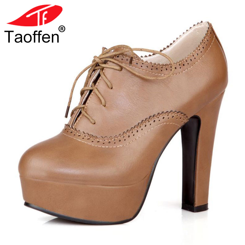 TAOFFEN plus big size 34-47 women stiletto high heel shoes sexy lady platform spring fashion heeled pumps heels shoes P16740 taoffen ladies leisure casual flats shoes low heels lady loafers sexy spring women brand footwear shoes size 34 42 p16166