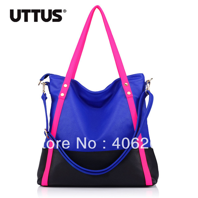 free shipping  uttus 2013 neon  color block preppy style high quality pu leather ladies' handbag shoulder bag sling bag