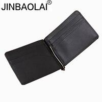 Genuine Leather Money Clip Fashion Stainless Steel Money Clip Money ID Pocket Holder Slim Money Clip