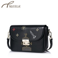 NUCELLE Women PU Leather Messenger Bags Female Fashion Lock Embroidery Crossbody Bag Ladies Leisure Rivet Shoulder