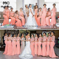 2019 Coral Bridesmaid Dress Long with Lace Half Sleeve Chiffon Wedding Party Dress Custom Made Women Bridesmaid Dresses